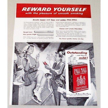 1954 Pall Mall Cigarettes Ice Skating Art Vintage Print Ad