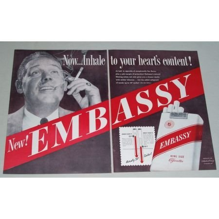 1949 Embassy Cigarettes 2 Page Color Print Ad