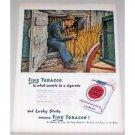 1947 Lucky Strike Cigarettes Tobacco Farmer Art Color Print Ad - Loaded For Market