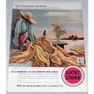 1942 Lucky Strike Cigarettes Benton Art Color Tobacco Print Ad