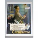 1944 Chesterfield Cigarettes Wartime WWII Color Print Ad - Getting There