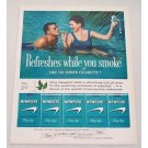 1960 Newport Cigarettes Swimming Color Print Ad