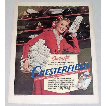 1944 Chesterfield Cigarettes Wartime WWII Color Print Ad - One For All