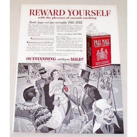 1954 Pall Mall Cigarettes Clown Circus Art Vintage Print Ad