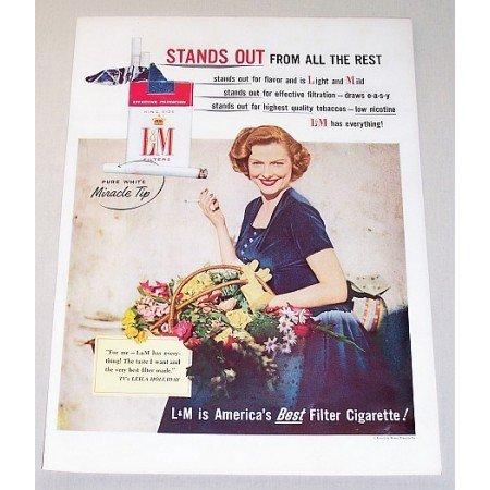 1955 L&M Cigarettes Celebrity Leila Holliday Color Print Tobacco Ad