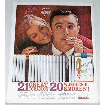 1961 Chesterfield Cigarettes Color Tobacco Print Ad