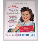 1951 Chesterfield Cigarette Color Tobacco Print Ad Celebrity Barbara Hale