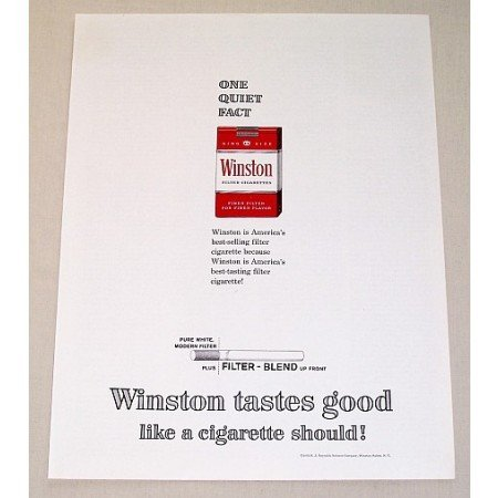 1962 Winston Cigarettes Color Tobacco Print Ad - One Quiet Fact