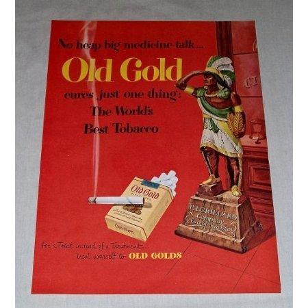1949 Old Gold Cigarettes Color Tobacco Print Ad - No Heap Big Medicine