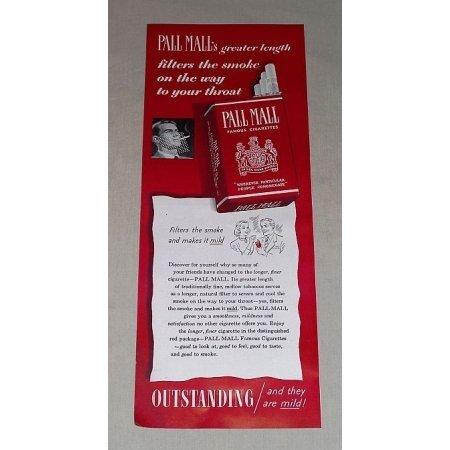 1949 Pall Mall Cigarettes Color Tobacco Print Ad