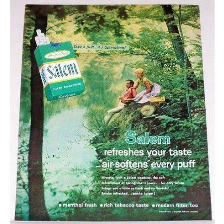 1962 Salem Cigarettes Color Tobacco Print Ad - It's Springtime