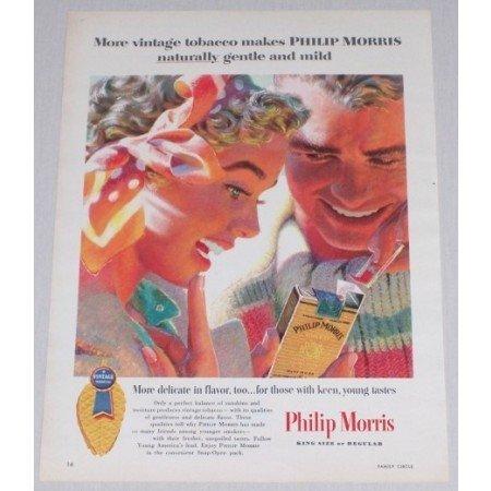 1955 Philip Morris Cigarettes Color Tobacco Print Art Ad