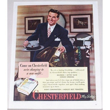 1945 Chesterfield Cigarettes Color Tobacco Print Ad - We're Changing