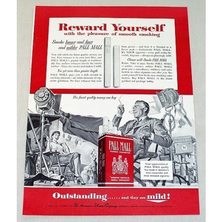 1954 Pall Mall Cigarettes Movie Film Art Vintage Tobacco Print Ad
