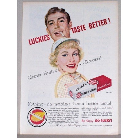 1953 Lucky Strike Cigarettes Tennis Art Color Tobacco Print Ad - Nothing-No-Nothing