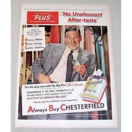 1951 Chesterfield Cigarette Color Tobacco Print Ad Celebrity Paul Douglas