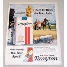 1962 Tareyton Cigarettes Horse Harness Racing Color Tobacco Print Ad