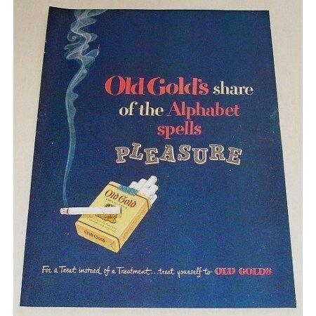 1948 Old Gold Cigarettes Color Print Ad - Alphabet Spells Pleasure