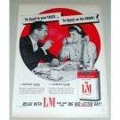 1956 King Size L&M Cigarettes Vintage Tobacco Print Ad - Quick On The Draw