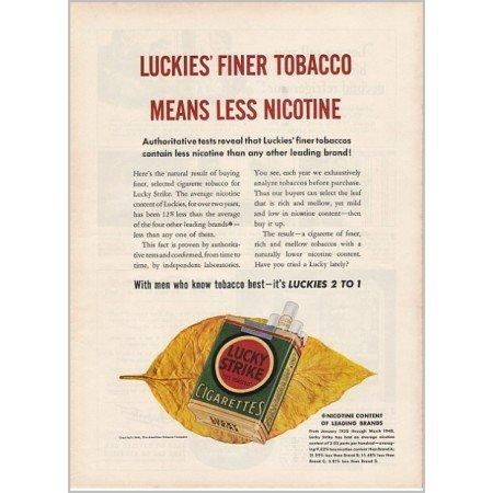 1940 Lucky Strike Cigarettes Color Print Ad - Finer Tobacco