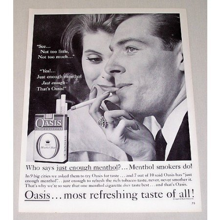 1960 Oasis Cigarettes Vintage Tobacco Print Ad - Just Enough Menthol