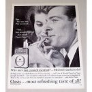 1960 Oasis Cigarettes Vintage Tobacco Print Ad - Just Enough Menthol