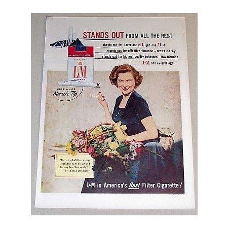 1955 L&M Cigarettes Color Tobacco Print Ad Celebrity Leila Holliday