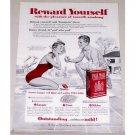 1955 Pall Mall Cigarettes Color Tobacco Print Ad - Swimming
