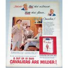 1954 Cavalier Cigarettes Color Tobacco Print Ad - Feel That Mildness