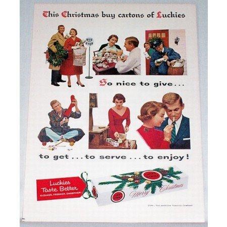 1956 Lucky Strike Cigarettes Color Christmas Print Ad