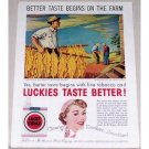 1954 Lucky Strike Cigarettes Tobacco Farmer Art Color Print Ad