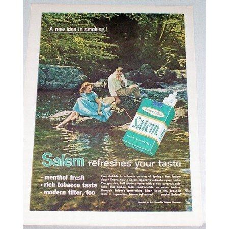 1959 Salem Cigarettes Color Tobacco Print Ad - New Idea In Smoking