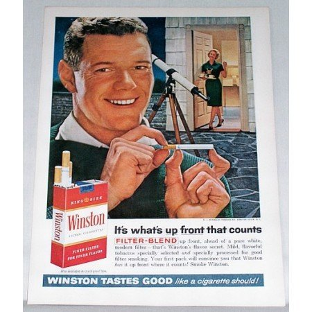 1961 Winston Cigarettes Astrometry Telescope Color Tobacco Print Ad