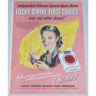 1948 Lucky Strike Cigarettes Crossley Poll Color Tobacco Print Ad