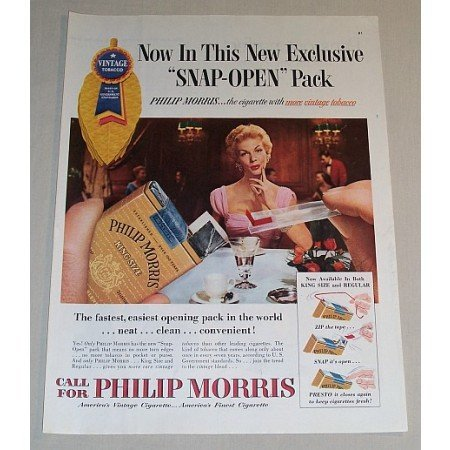 1954 Philip Morris Cigarettes Color Tobacco Print Ad - Snap Open Pack