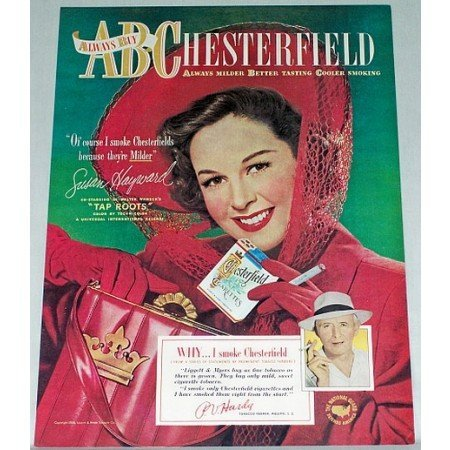 1948 Chesterfield Cigarettes Color Tobacco Print Ad Celebrity Susan Hayward