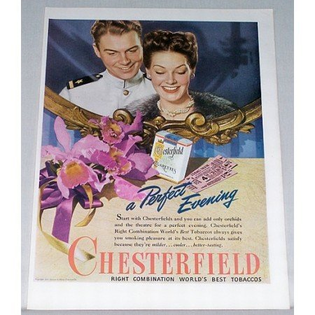 1945 Chesterfield Cigarettes Vintage Tobacco Print Ad - Perfect Evening