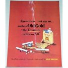 1948 Old Gold Cigarettes Color Tobacco Print Ad - The Treasure