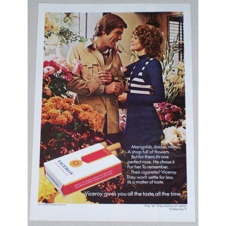 1971 Viceroy Cigarettes Marigolds Daisies Flowers Color Tobacco Print Ad