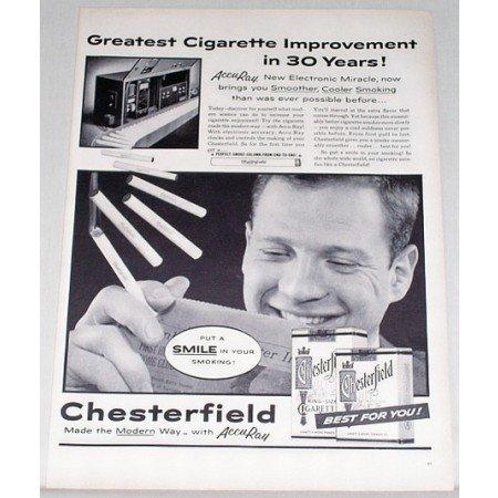 1955 Chesterfield Cigarettes Accu-Ray Checker Vintage Tobacco Print Ad