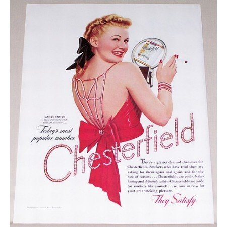 1941 Chesterfield Cigarettes Color Tobacco Print Ad Celebrity Marion Hutton