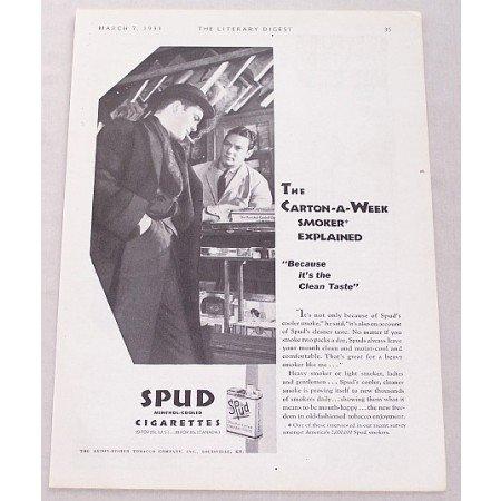 1931 Spud Cigarettes Vintage Tobacco Print Ad - Carton-A-Week