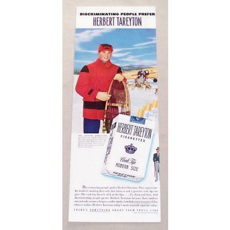 1951 Herbert Tareyton Cigarettes Winter Art Color Tobacco Print Ad - Winter Sports