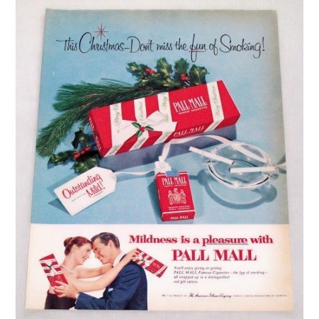 1956 Pall Mall Cigarettes Color Christmas Tobacco Print Ad