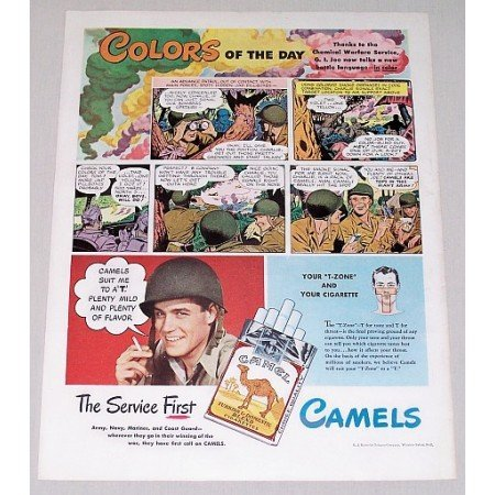 1945 Camel Cigarettes GI JOE Wartime WWII Color Art Tobacco Print Ad