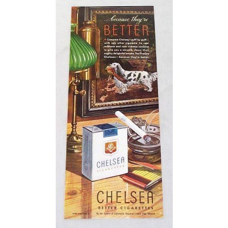 1943 Chelsea Cigarettes Color Tobacco Print Ad - Because They're Better
