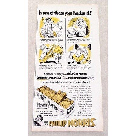 1952 Philip Morris Cigarettes Vintage Tobacco Print Ad - Whatever He Enjoys