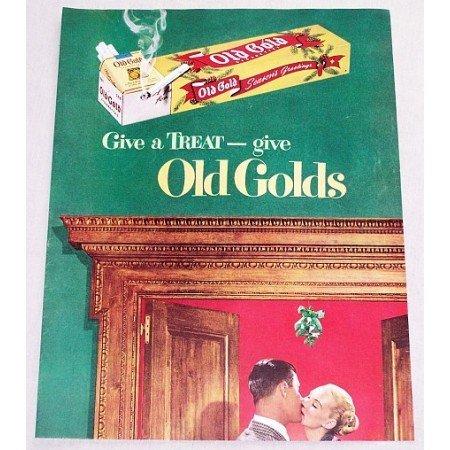 1949 Old Gold Cigarettes Color Tobacco Print Ad - Give A Treat