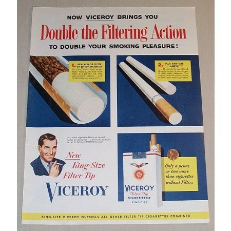 1954 Viceroy Cigarettes Color Tobacco Print Ad - Double The Filtering