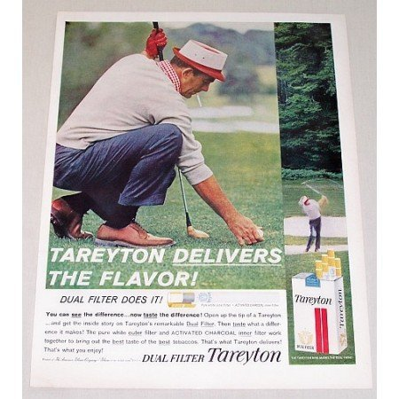 1961 Tareyton Cigarettes Golf Color Tobacco Print Ad